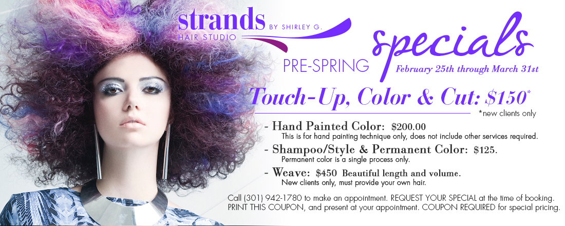 Strands Hair Studio by Shirley Gordon - Spring 2014 Salon Specials